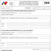 Modificarea formularului 394 - Declaratie informativa privind livrarile, prestarile si achizitiile efectuate pe teritoriul national