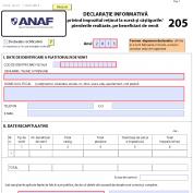 """Modificarea formularului 205 """"Declaratie informativa privind impozitul retinut la sursa si castigurile/pierderile realizate, pe beneficiari de venit"""", versiunea 2014"""